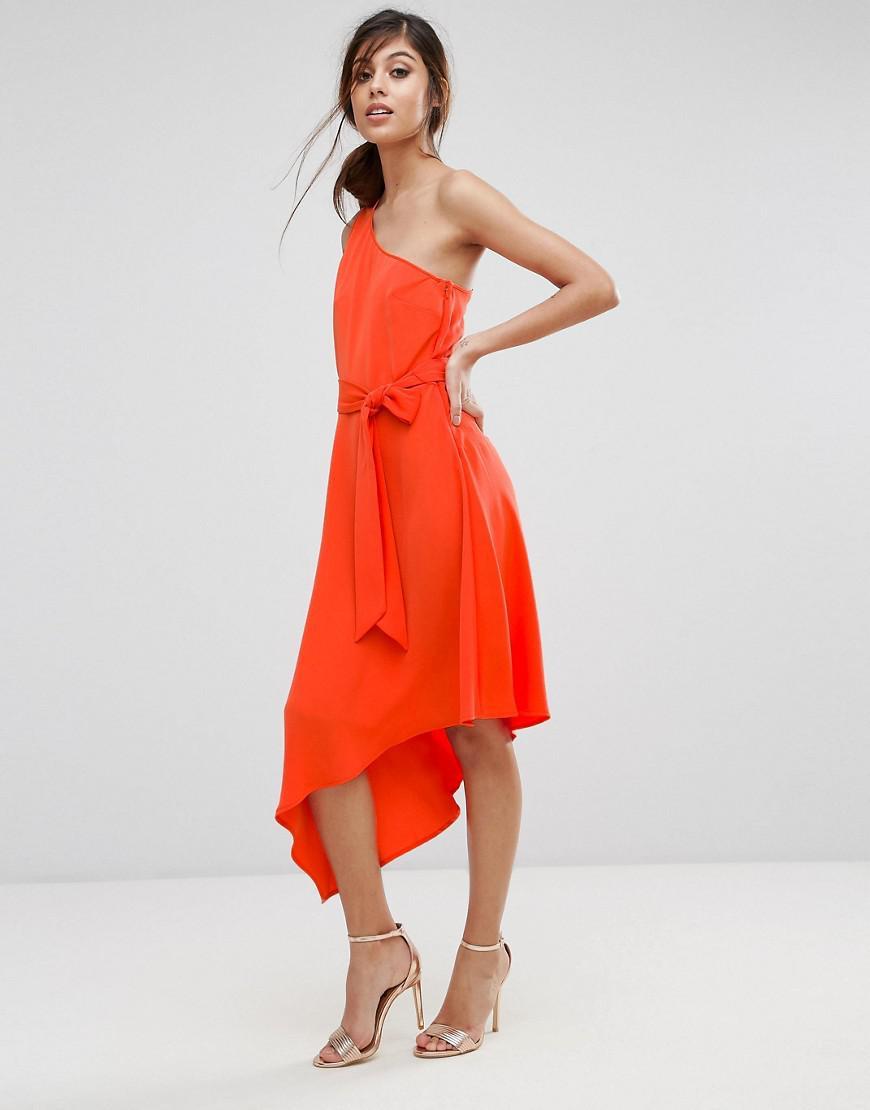 Warehouse. Women's Orange One Shoulder Dress