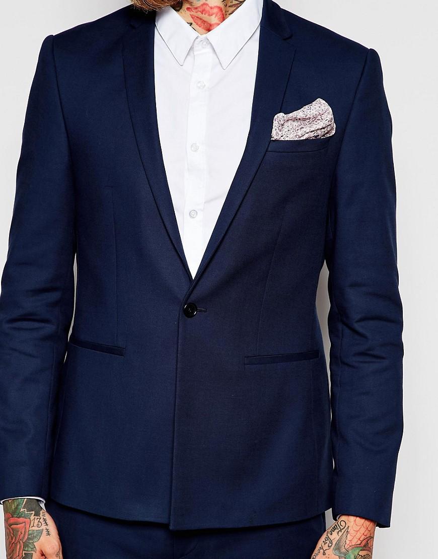 Asos Skinny Suit Jacket In Navy In Blue For Men Lyst