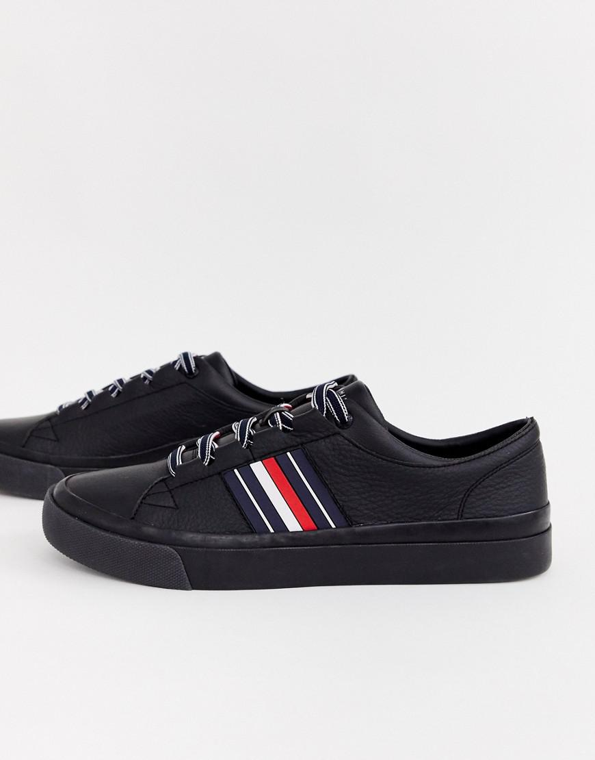 9aca47c1540a Lyst - Tommy Hilfiger Corporate Stripe Leather Low Trainer In Black in  Black for Men