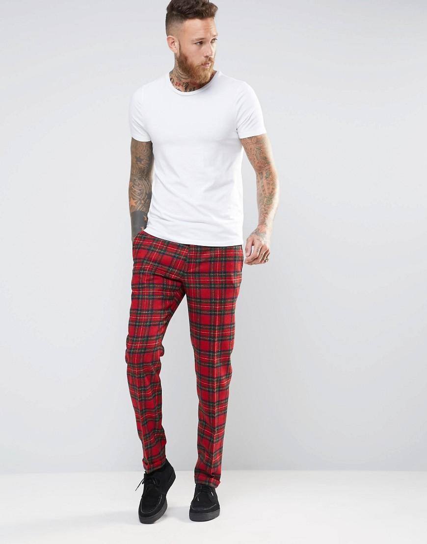 Noose And Monkey Woven In England 100% Wool Tartan Trousers In Skinny Fit With Turn Up in Red for Men