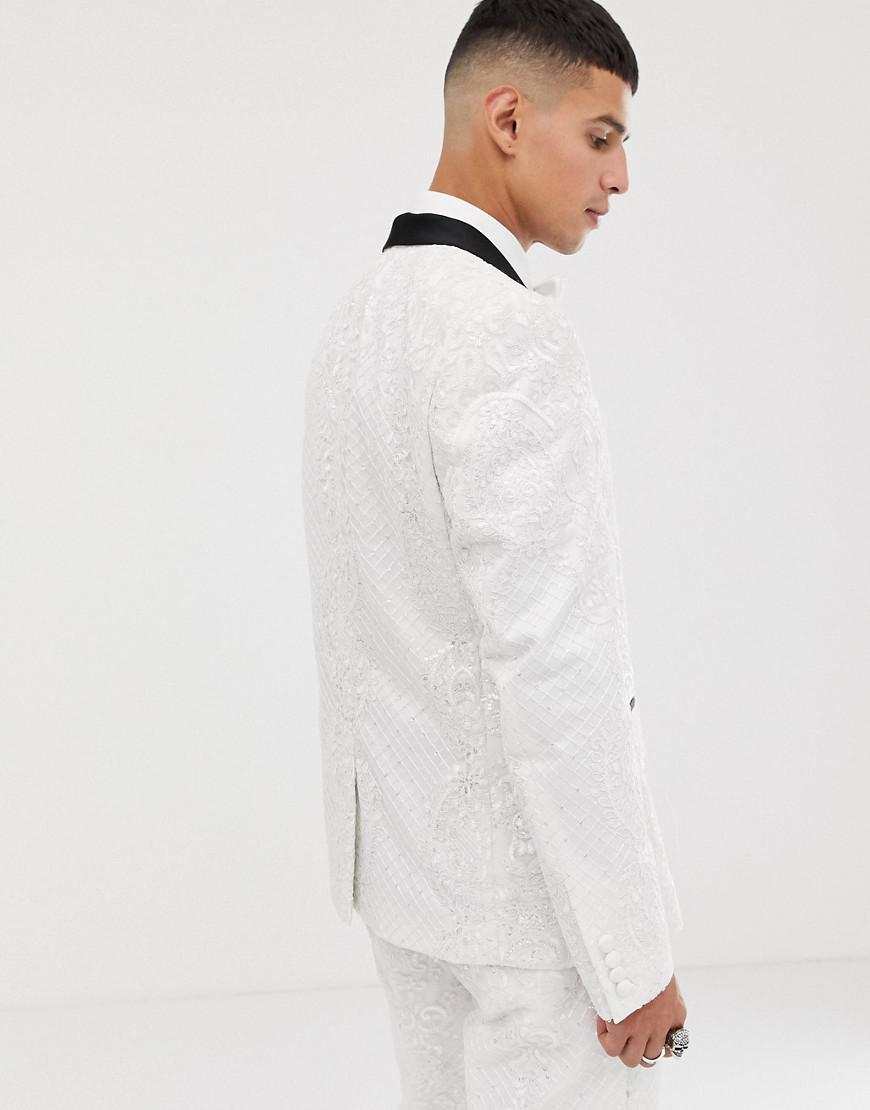 ASOS Skinny Tuxedo Suit Jacket In Sequin And Lace Embellished White Sateen  in White for Men - Lyst f61de3dc5d