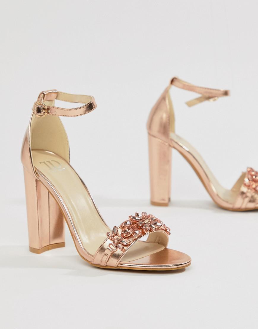 45b53f5821b True Decadence Rose Gold Metallic Ankle Tie Heeled Sandals - Image ...