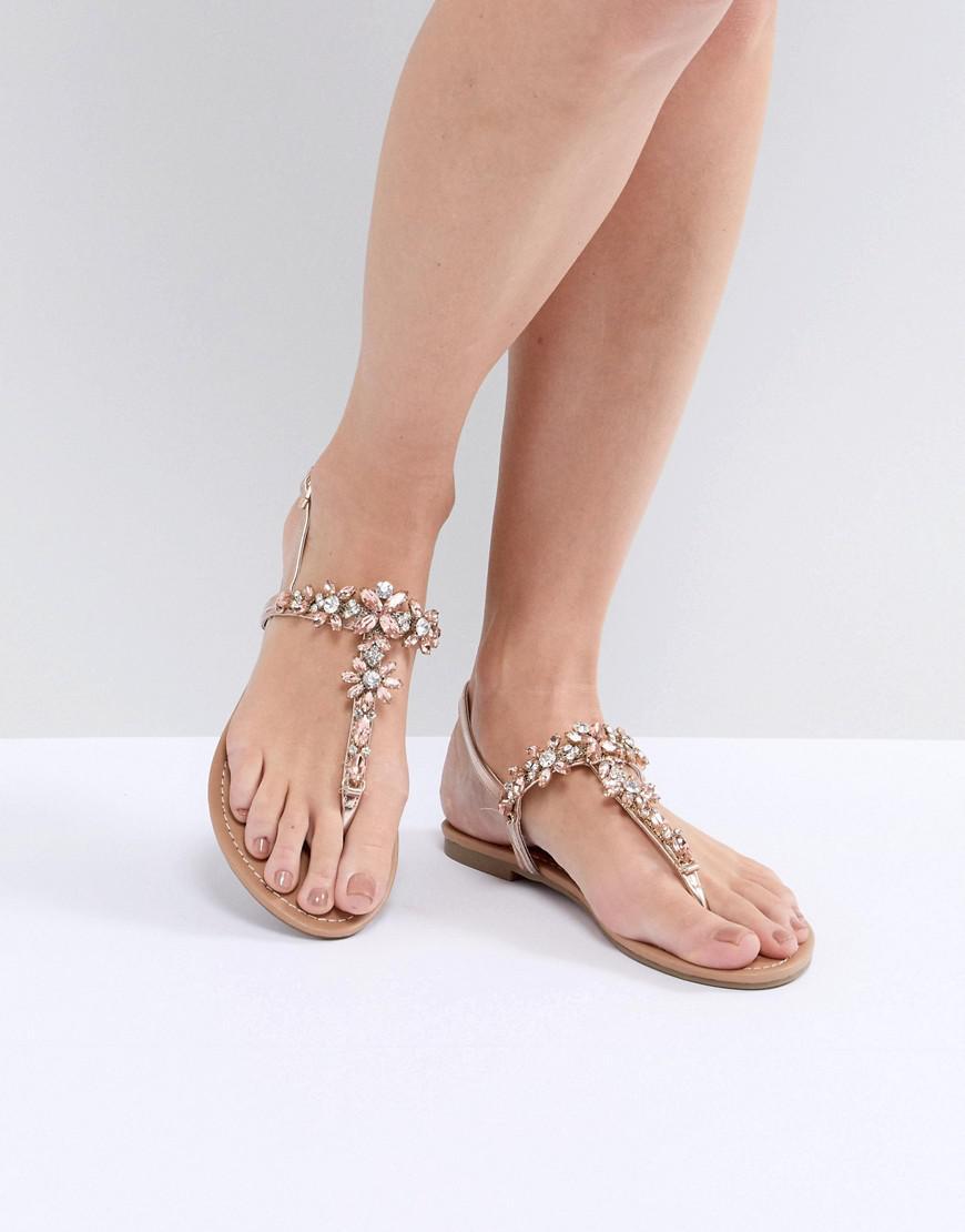 Faith. Women's Metallic Jile Rose Gold Embellished Flat Sandals