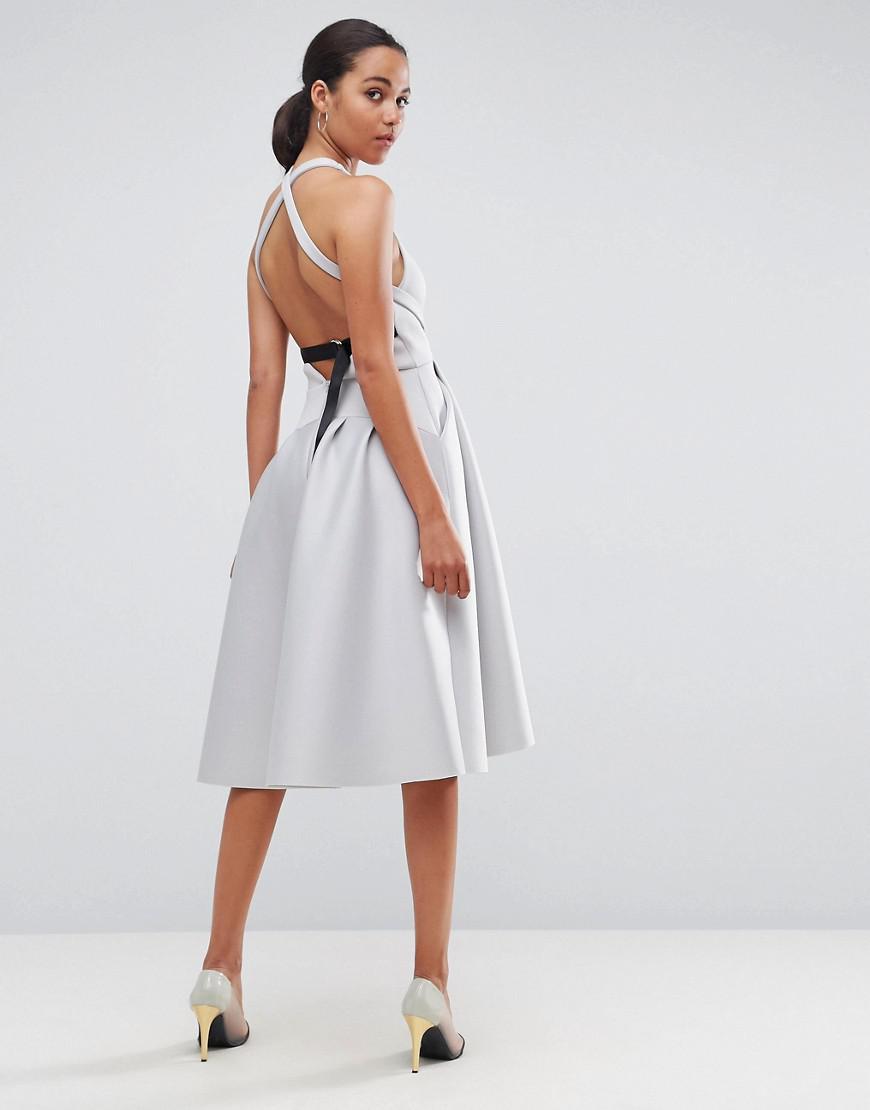 12cf75a34 ASOS Asos Premium Cross Back D Ring Prom Midi Dress in Gray - Lyst