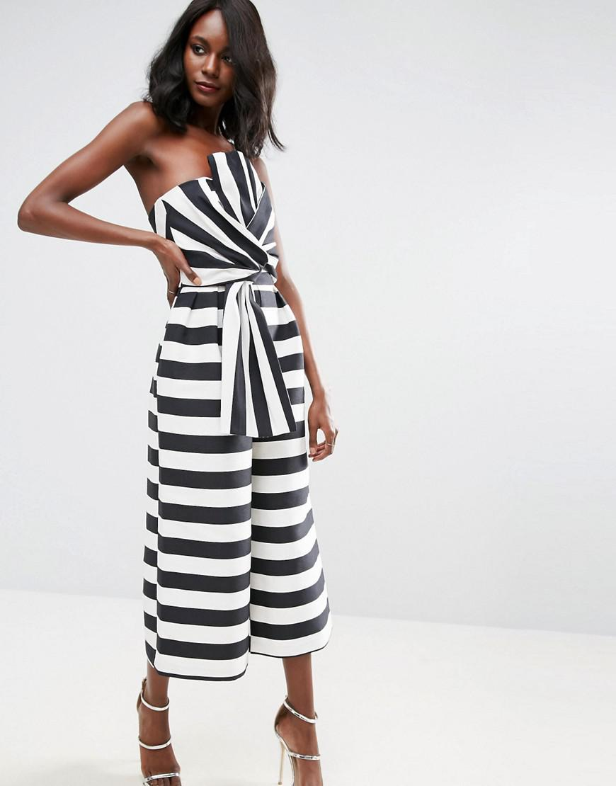 4de08c0123d Lyst - ASOS Jumpsuit In Structured Stripe With Knot And Drape Detail ...