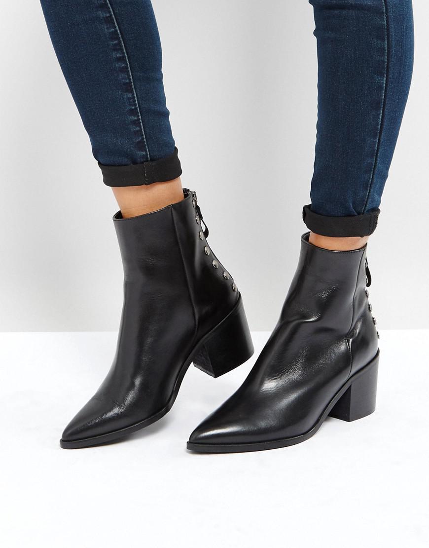 b81d6c3b4d8 Carvela Kurt Geiger Leather Slight Zip Up Back Heeled Ankle Boots in ...