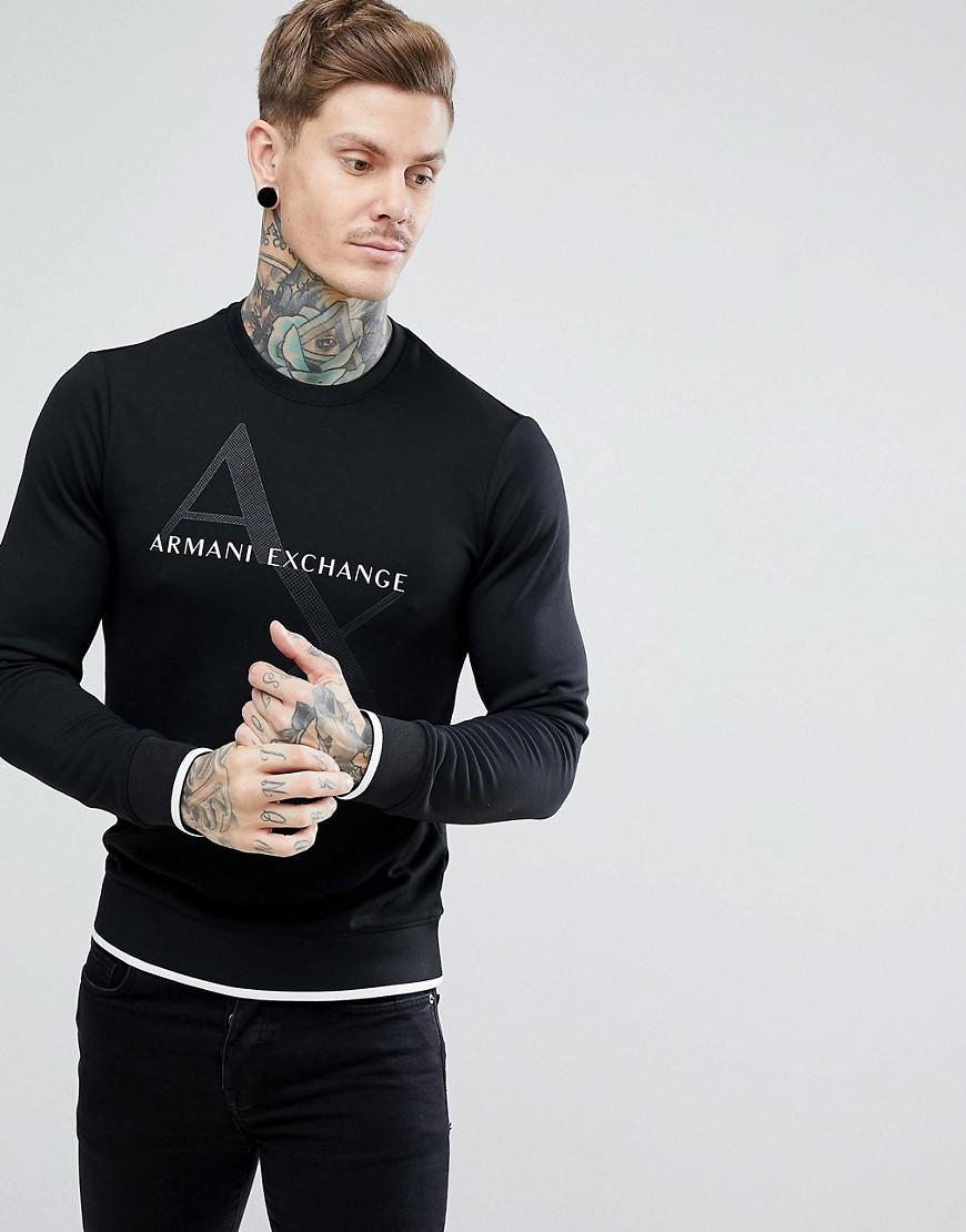 d5e0bd84a3 Lyst Lyst Lyst Crew For For For In Men Exchange Black Neck Sweat Logo Armani  zaxgUHqg