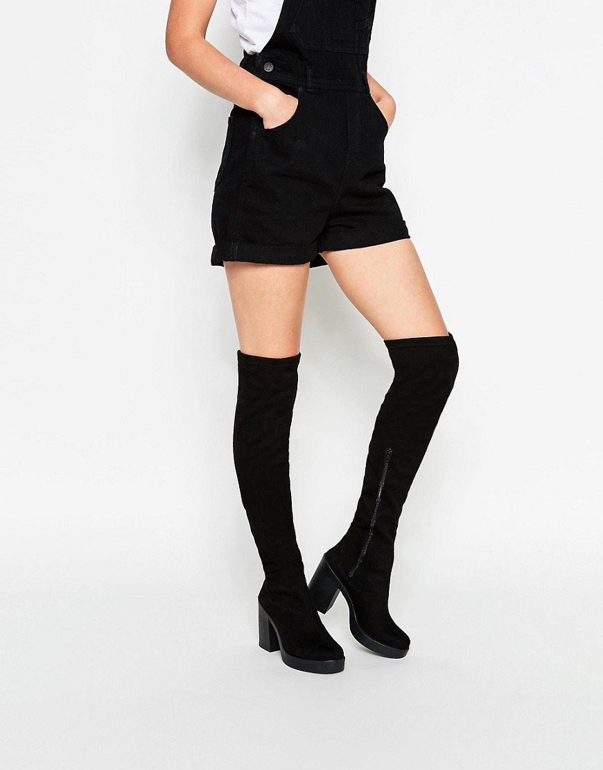 Asos Kian Heeled Over The Knee Boots in Black