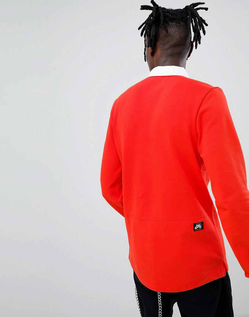 e2c02ecc62 Nike Long Sleeve Polo Shirt In Red Exclusive At Asos in Red for Men - Lyst