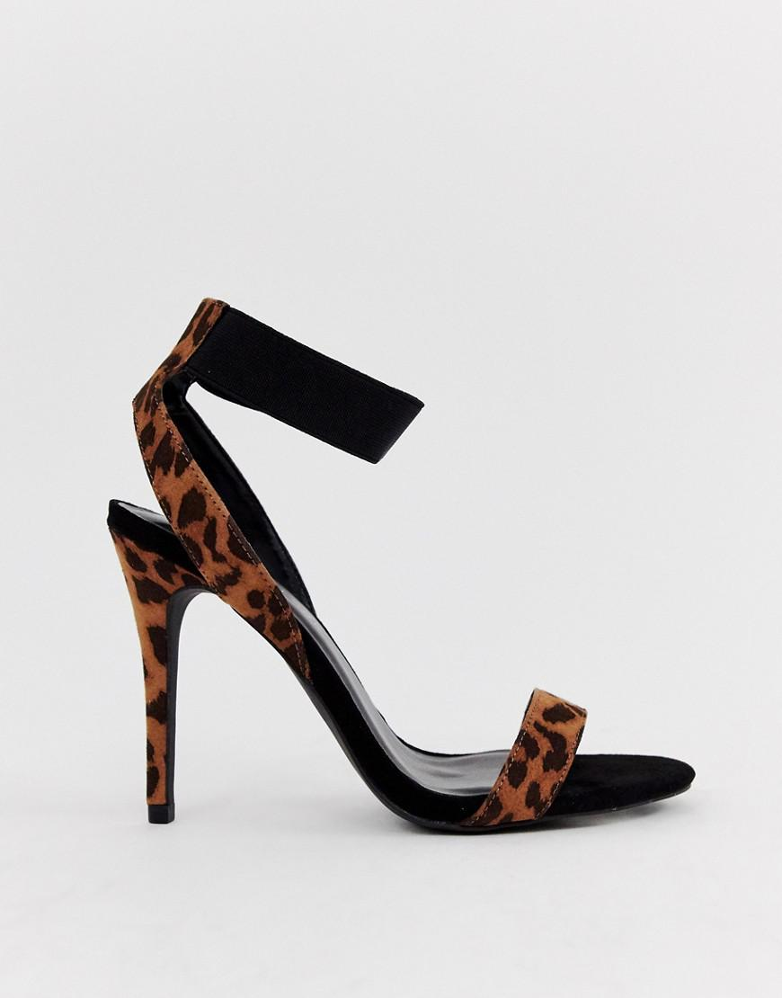 9972125b6a7 Lyst - New Look Heeled Sandals In Leopard in Black