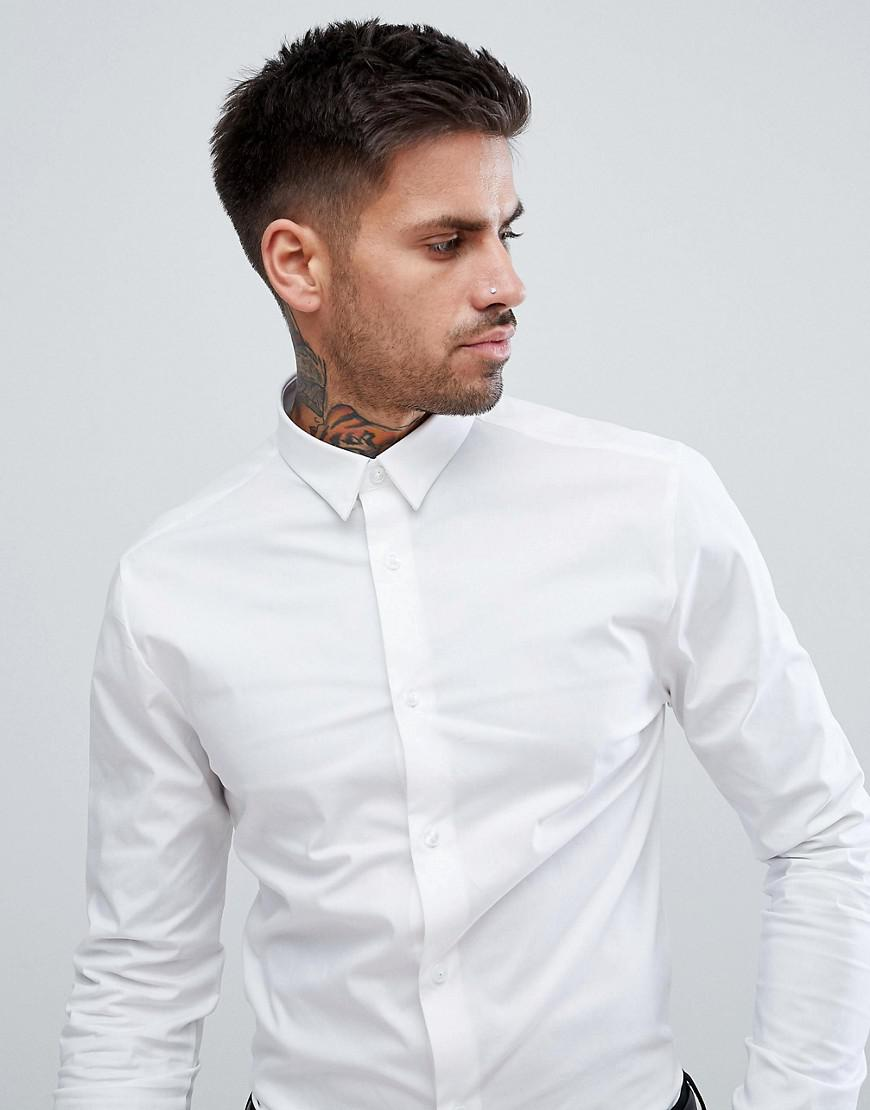 fe2bd217 New Look Muscle Fit Poplin Shirt In White in White for Men - Lyst