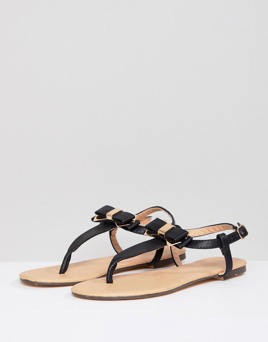 Oasis Bow Toe Post Sandals in Black - Lyst