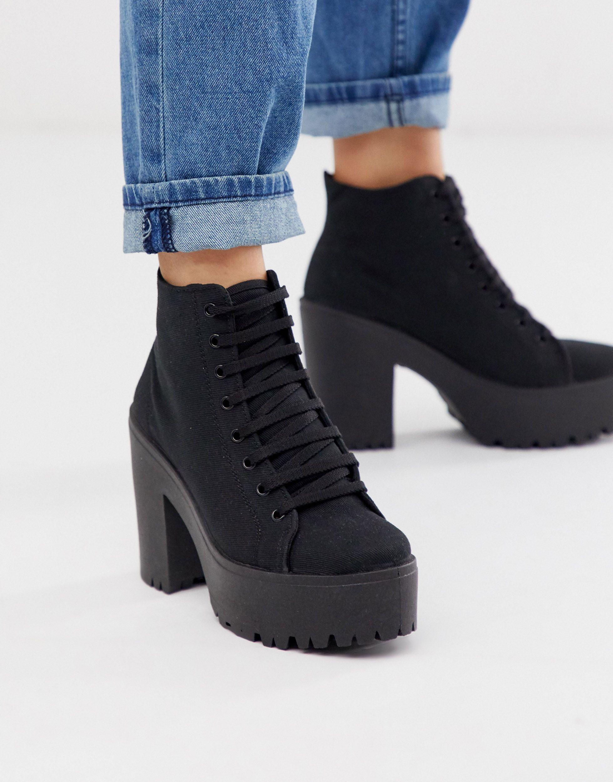 Botas ASOS de Lona de color Negro
