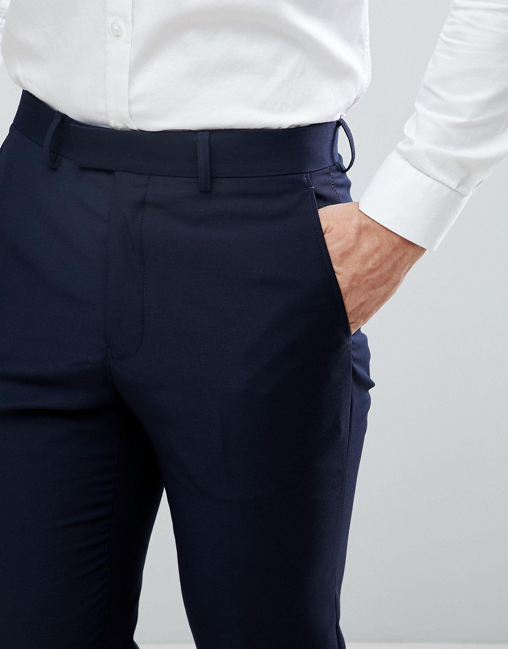 French Connection Slim-fit Smokingbroek in het Blauw voor heren