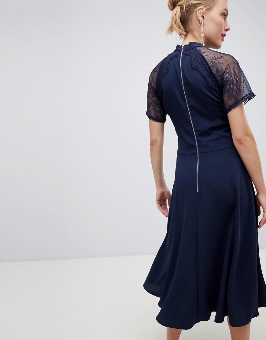 280fab71d96 Lyst - Liquorish A Line Lace Detail Midi Dress in Blue