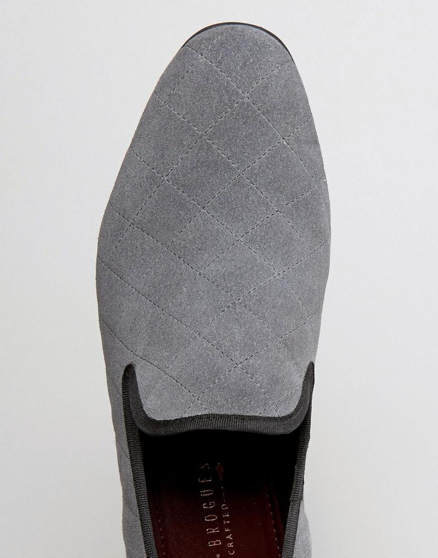 London Brogues Suede Quilted Slipper Loafers in Grey (Grey) for Men