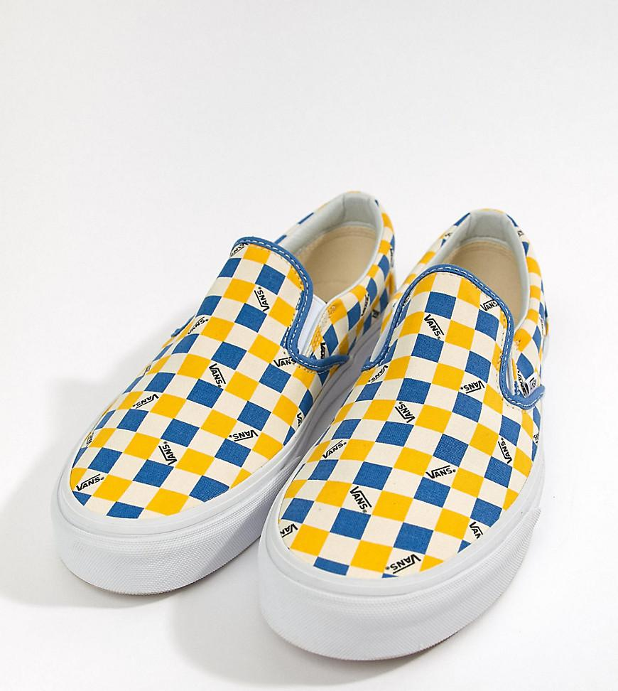4e37bf0c2c87da Vans Factory Pack Checkerboard Slip-on Plimsolls In Yellow Exclusive ...