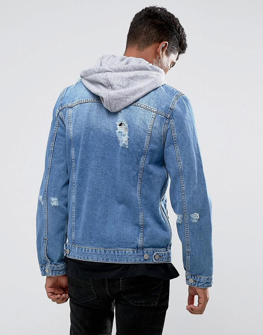 ASOS Denim Jacket With Jersey Hood And Rips in Blue for Men