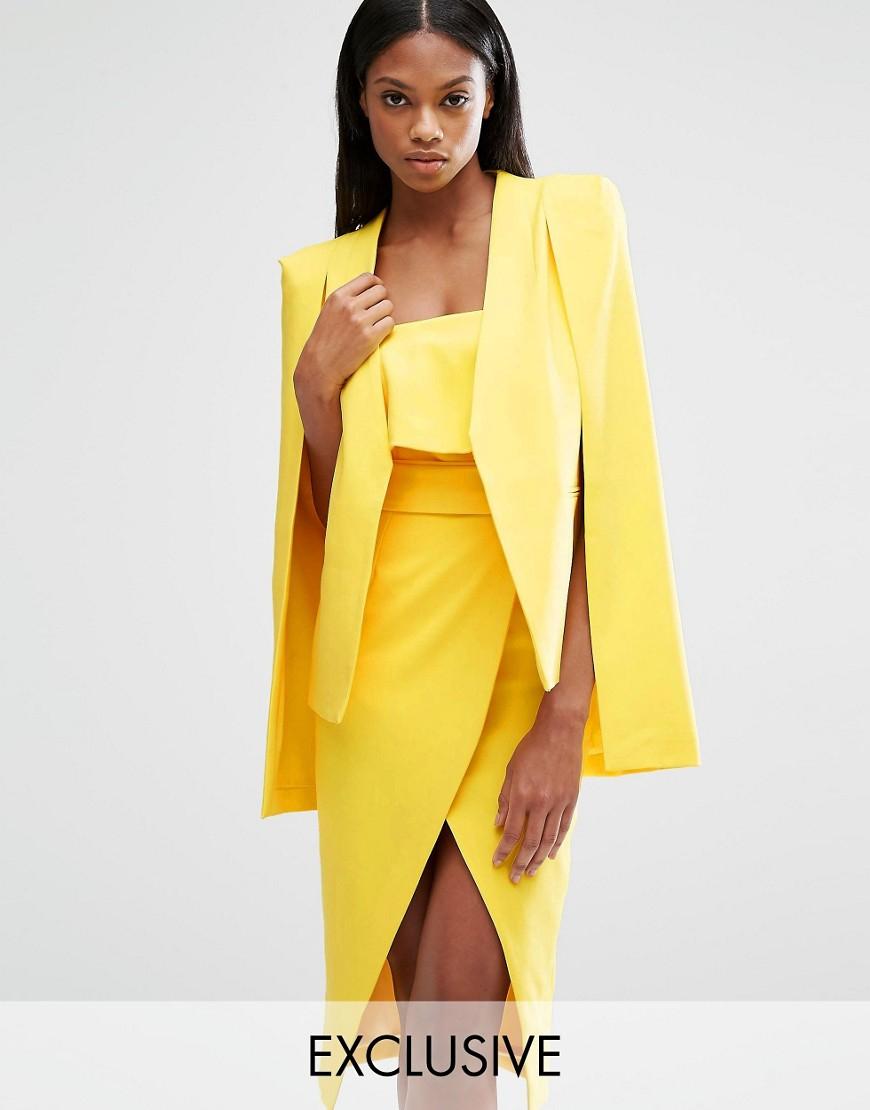 Lavish Alice Cape Blazer In Yellow Lyst