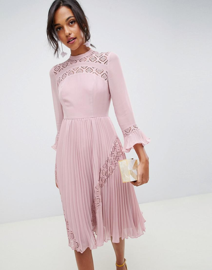 069101d578b ASOS Lace Insert Pleated Midi Skater Dress With Long Sleeves in ...