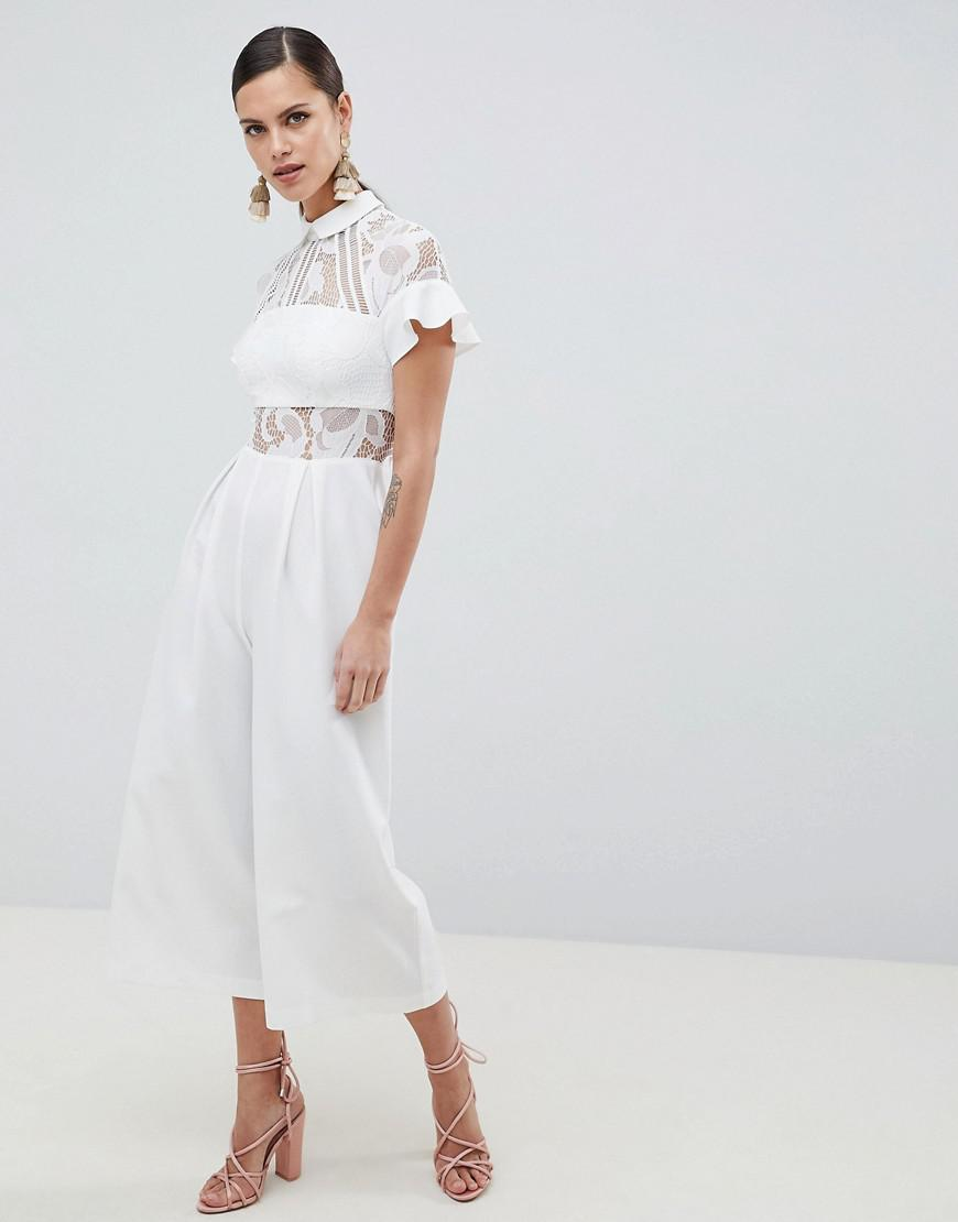 57855987131 ASOS Lace Top Jumpsuit With Culotte Leg in White - Lyst
