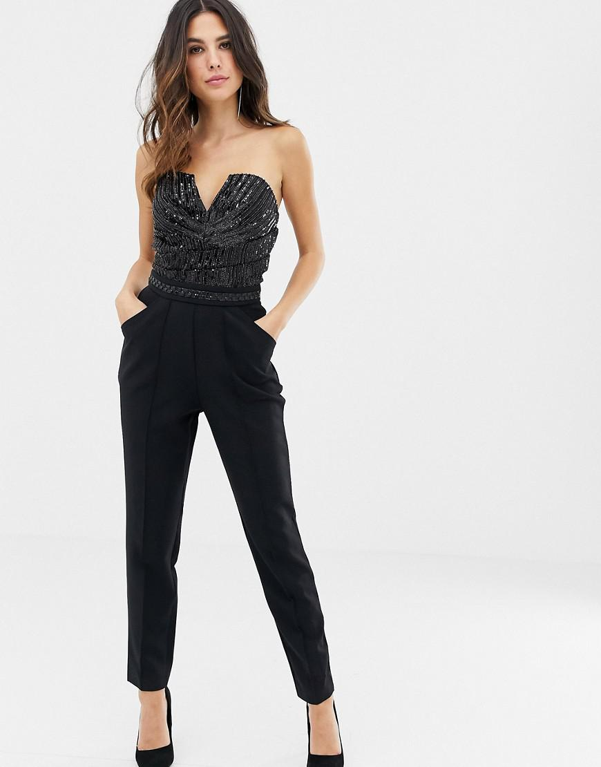 a9abfa8627 Lyst - Lipsy Bandeau Jumpsuit With Sequin Detail In Black in Black