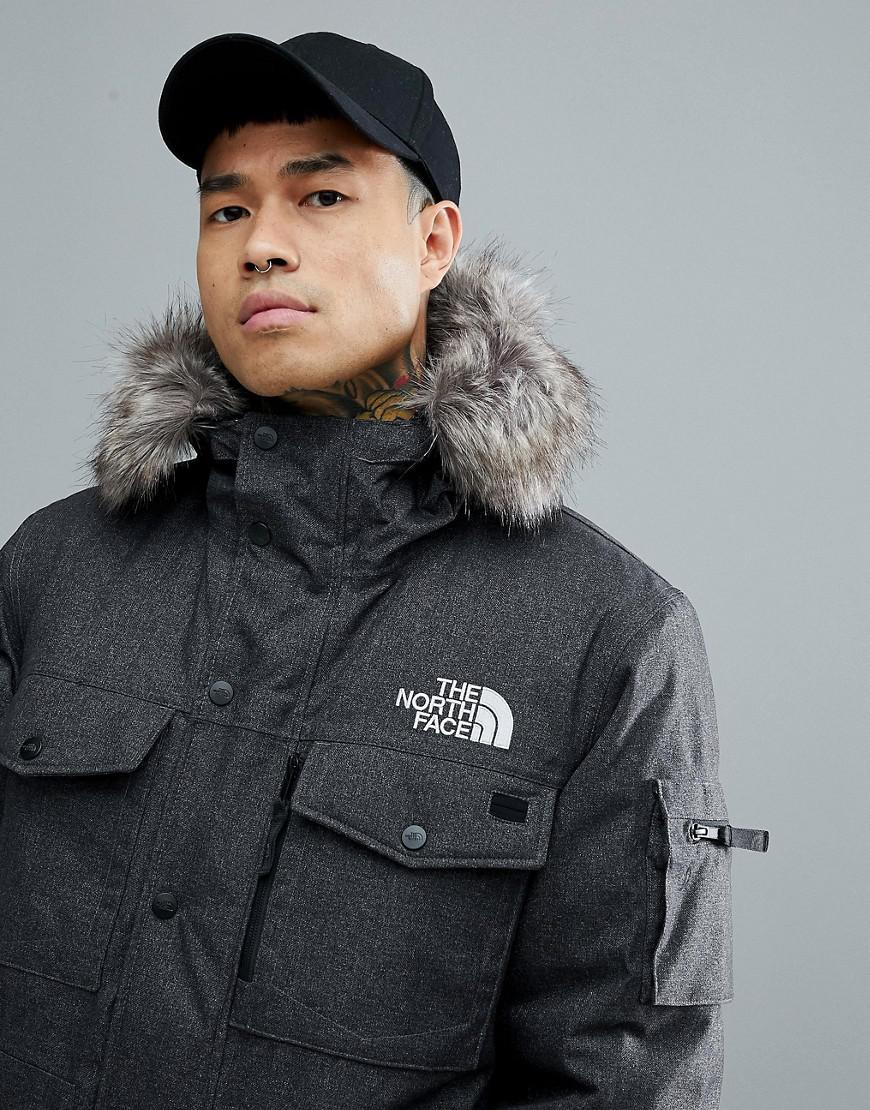 a8d0f6ec5 The North Face Gray Gotham Bomber Jacket With Detachable Faux Fur Hood In  Grey for men