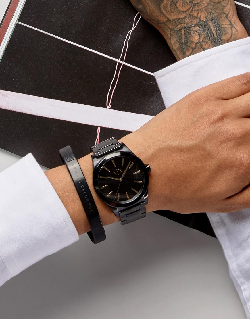 10e9cc53 Armani Exchange Ax7102 Black Leather Watch & Bracelet Gift Set for men