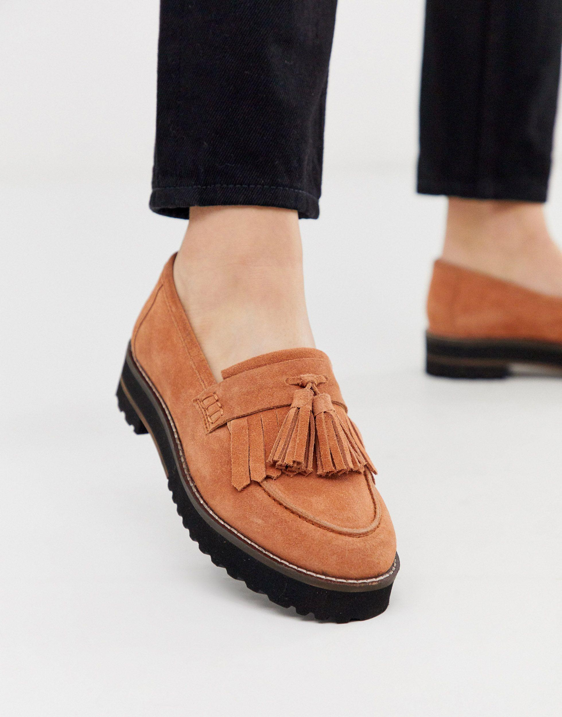 ASOS Meze Chunky Fringed Suede Loafers