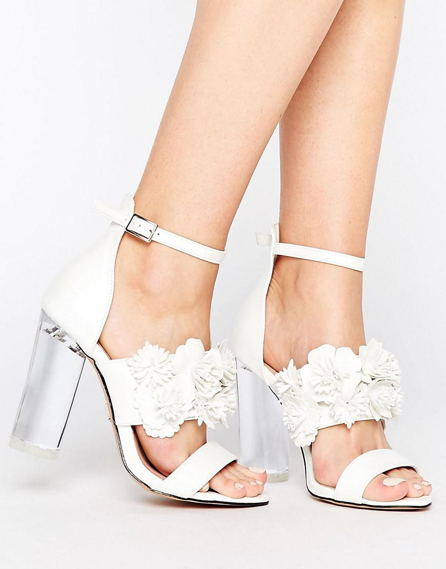 6658ec4b6f825 Lost Ink Monika Floral Heeled Sandals in White - Lyst