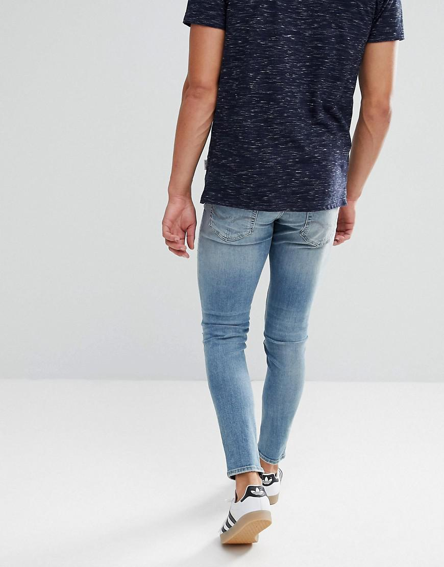 Jack & Jones Denim Intelligence Jeans In Skinny Fit With Distress And Zip Ankle in Blue for Men
