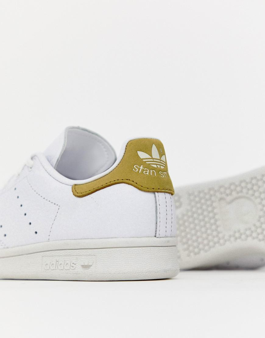 441f6c55328 adidas Originals White And Yellow Stan Smith Sneakers in White - Lyst