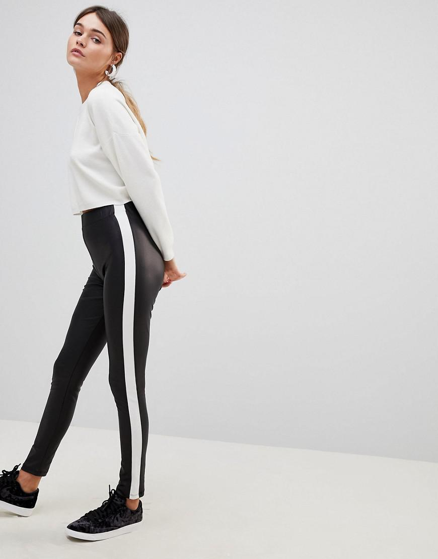 5054c961a0cd0d ASOS Leather Look leggings With Side Stripe in Black - Lyst