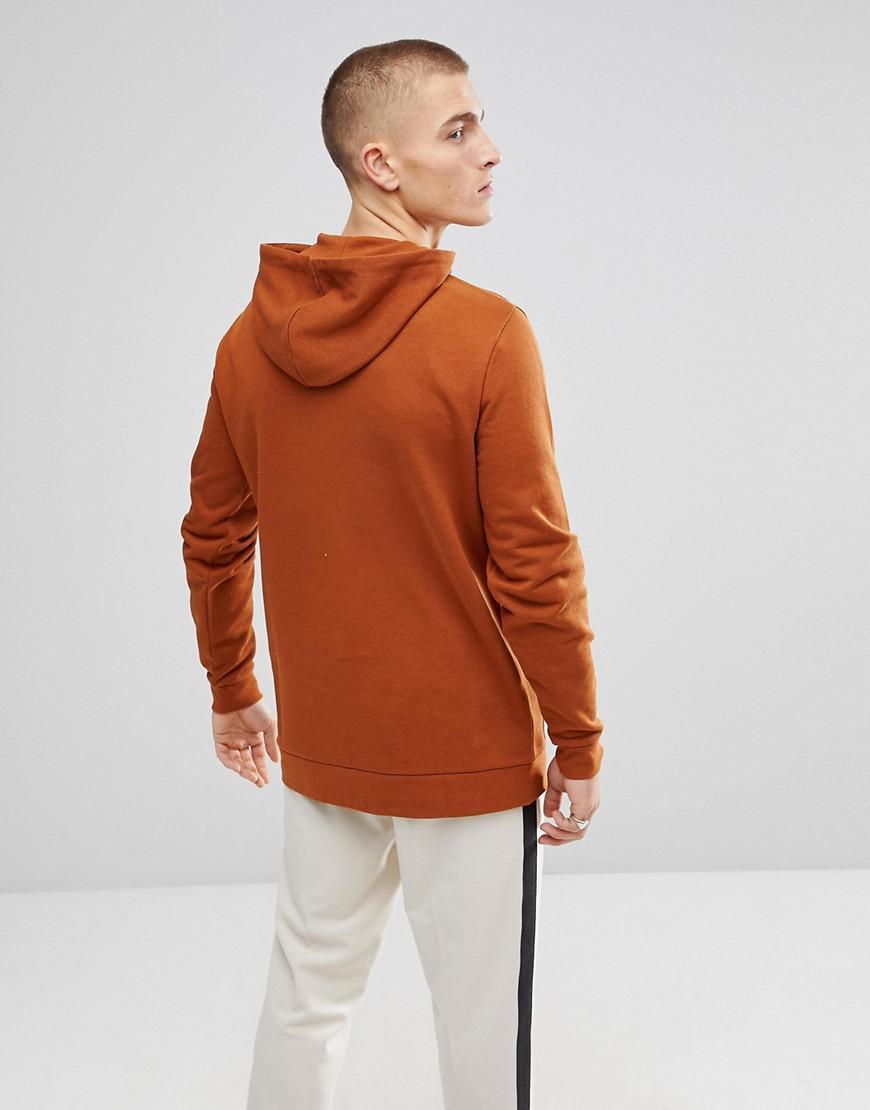 ASOS Denim Longline Hoodie In Dark Orange for Men