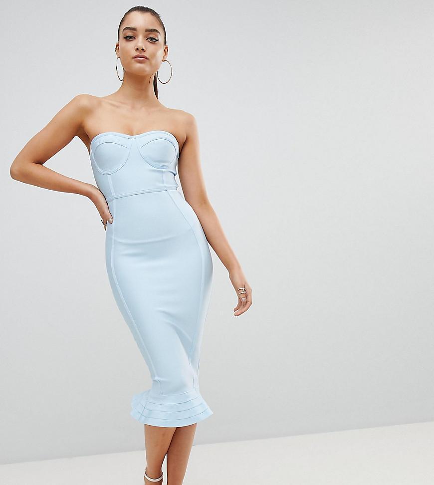 6f5f0ca7d506 PrettyLittleThing Exclusive Bandage Frill Hem Bodycon Dress in Blue ...