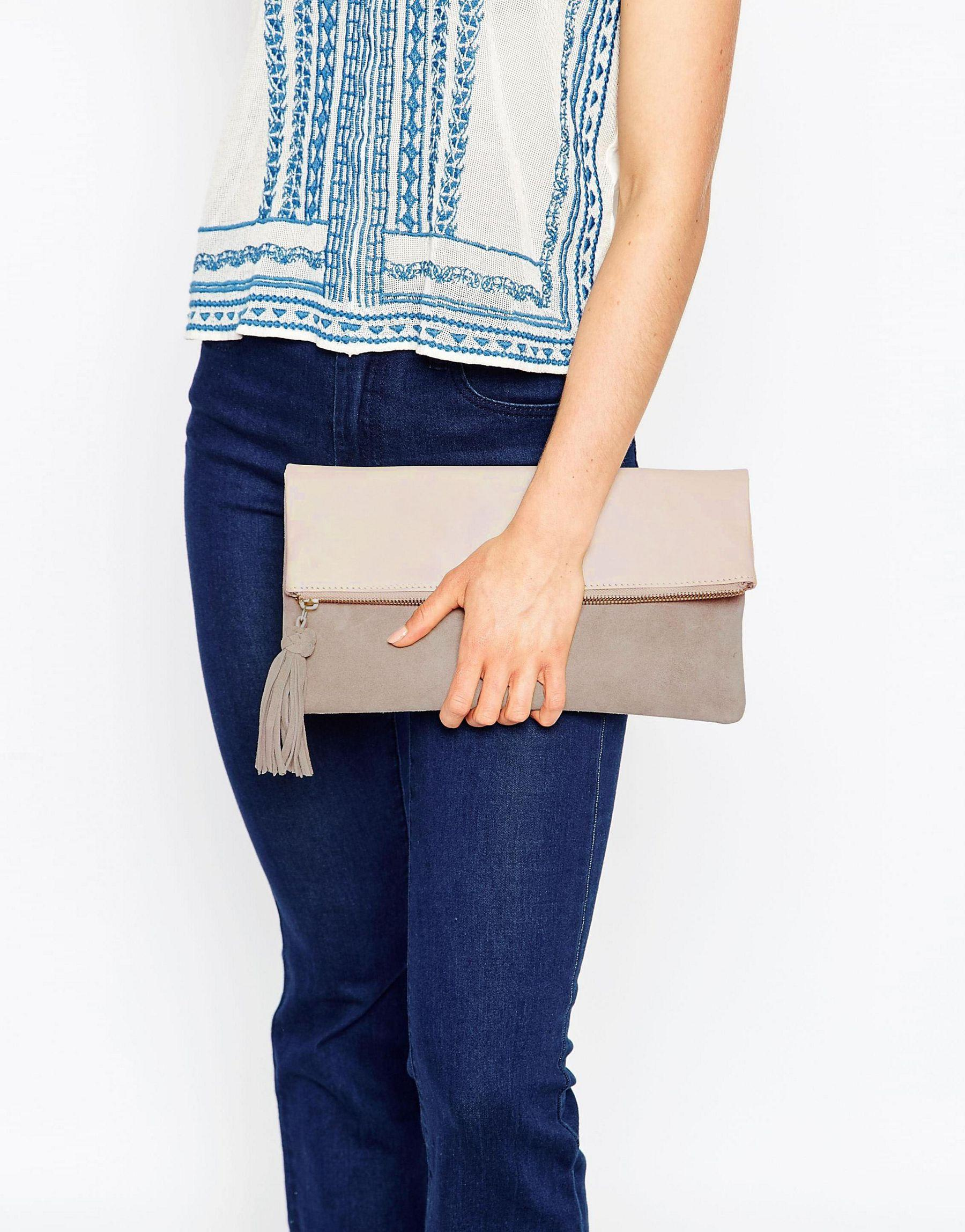 how to lock my iphone asos leather and suede foldover clutch bag in lyst 17188