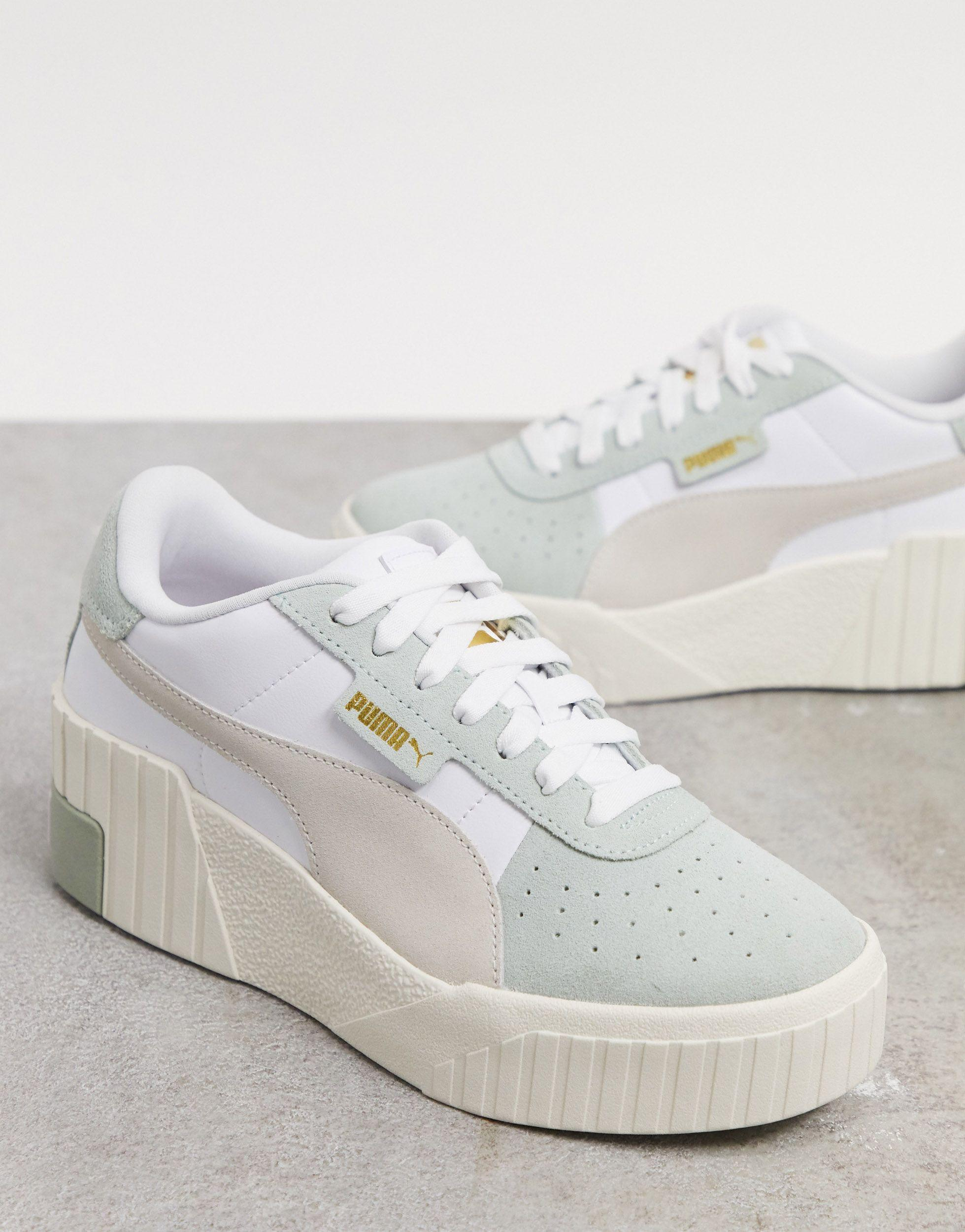 PUMA Rubber Cali Wedge Sneakers in Green - Lyst