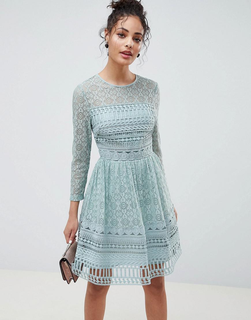 Asos Design Premium Lace Mini Skater Dress in Green - Lyst