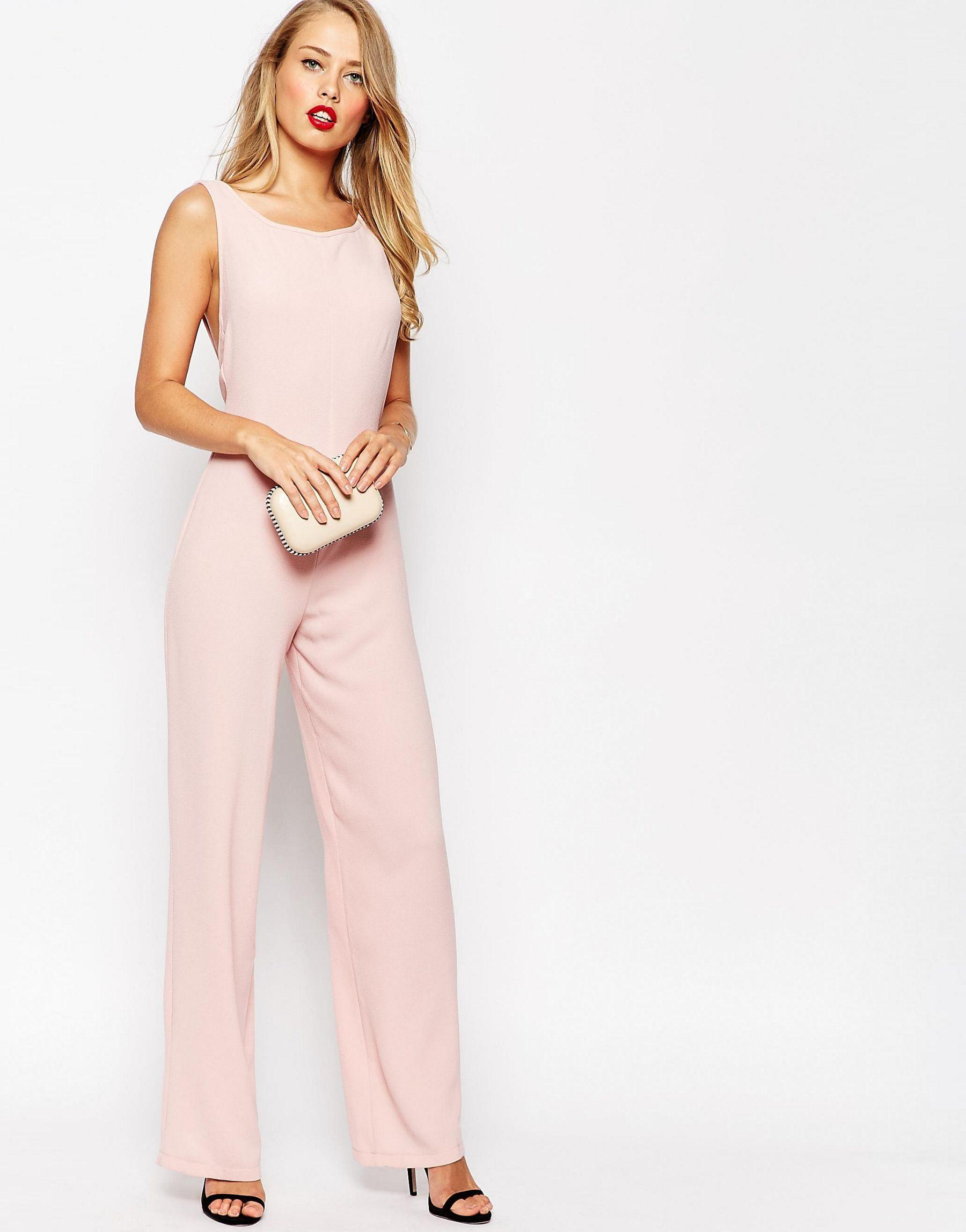 Asos Cut Out Bow Back Jumpsuit In Pink Lyst