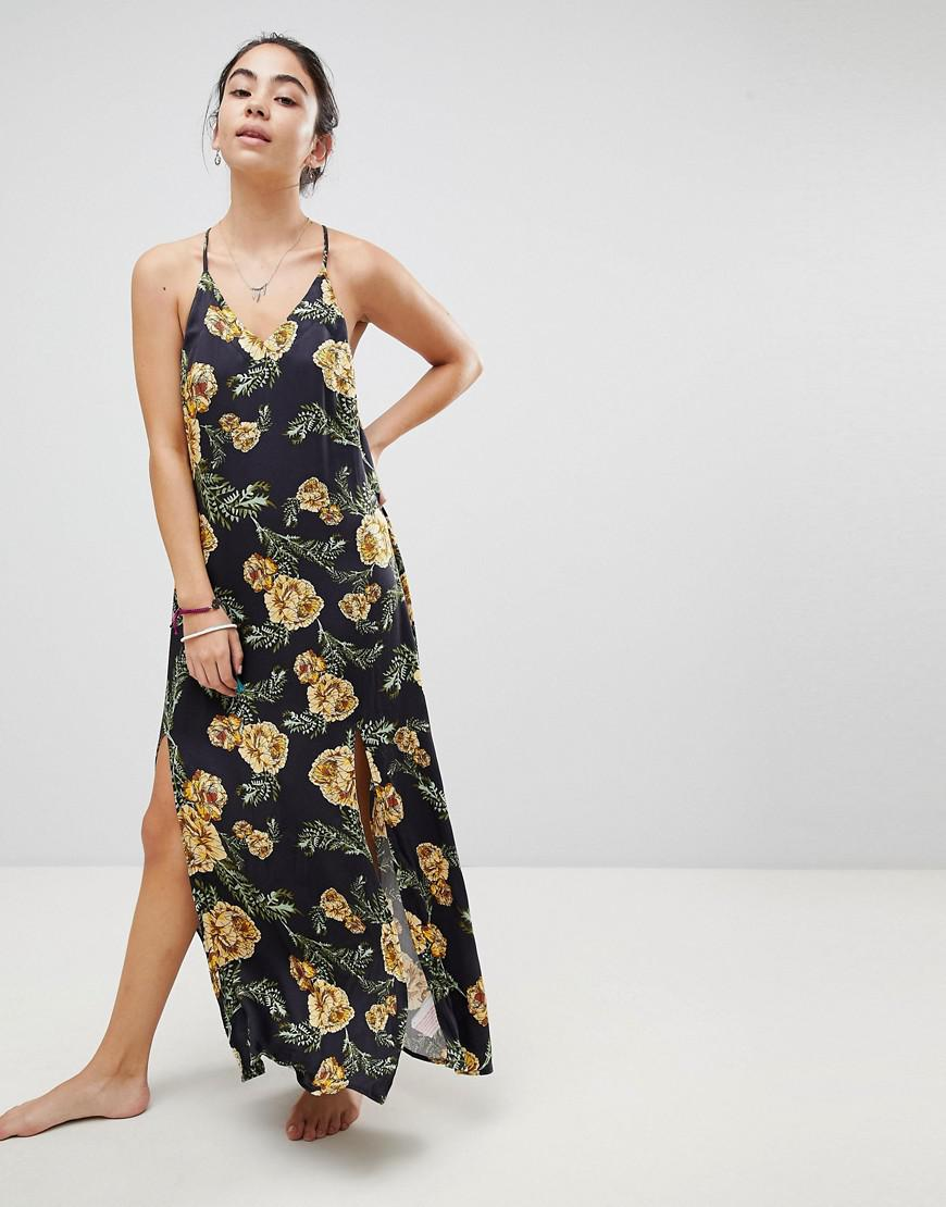 6214b542e1 Somedays Lovin. Women's Black River Running Floral Maxi Beach Dress With Side  Split