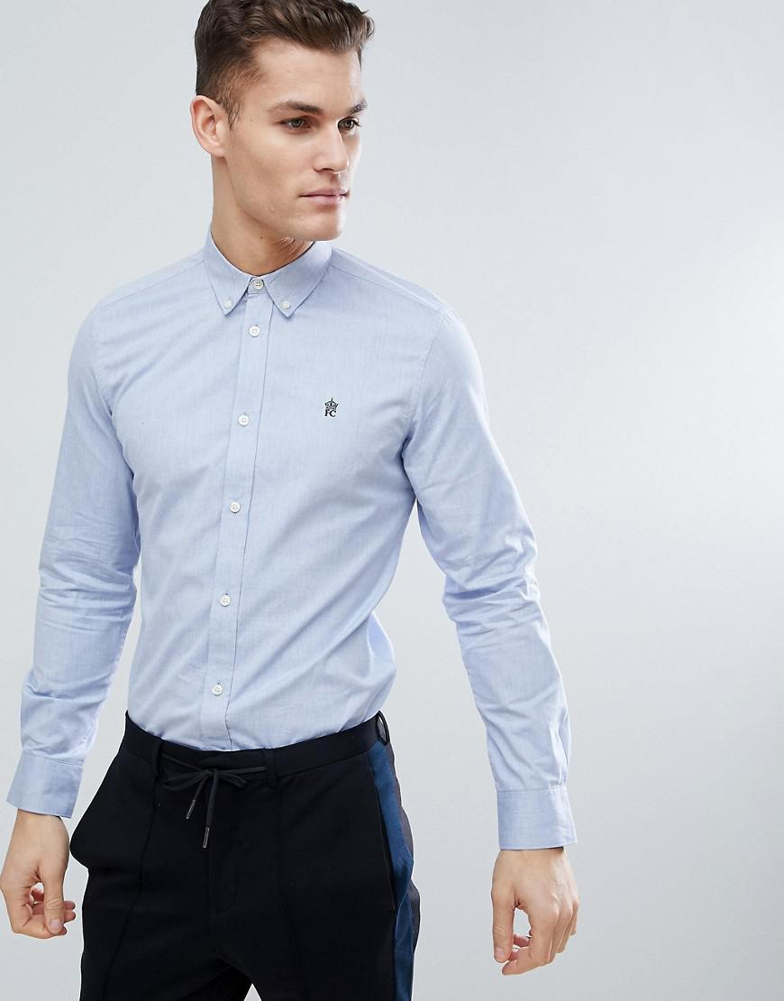 0d3fdad8e Lyst - French Connection Long Sleeve Oxford Shirt in Blue for Men ...