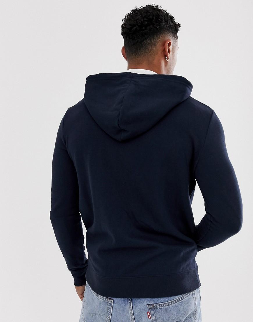 New Look Katoen Hoodie Met Rits Vooraan in het Blauw voor heren