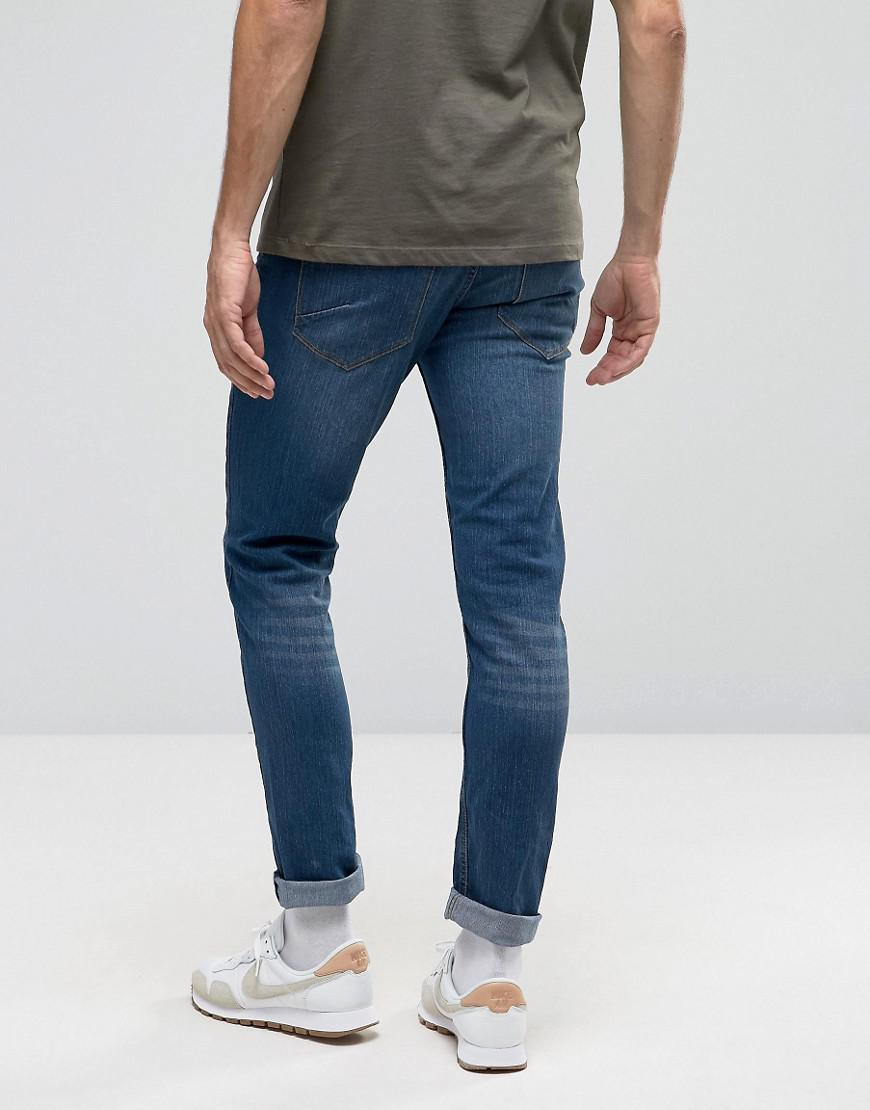 Solid Denim Jeans Slim Fit Jeans In Mid Wash Blue With Stretch for Men