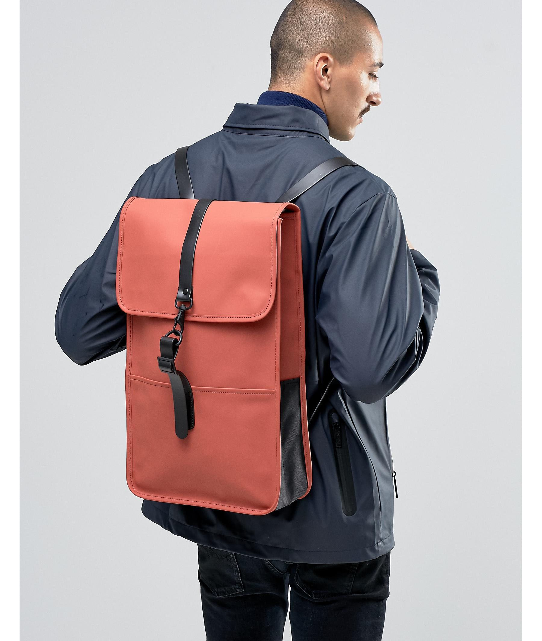 3bfcf705f498 Lyst - Rains Backpack In Rust for Men