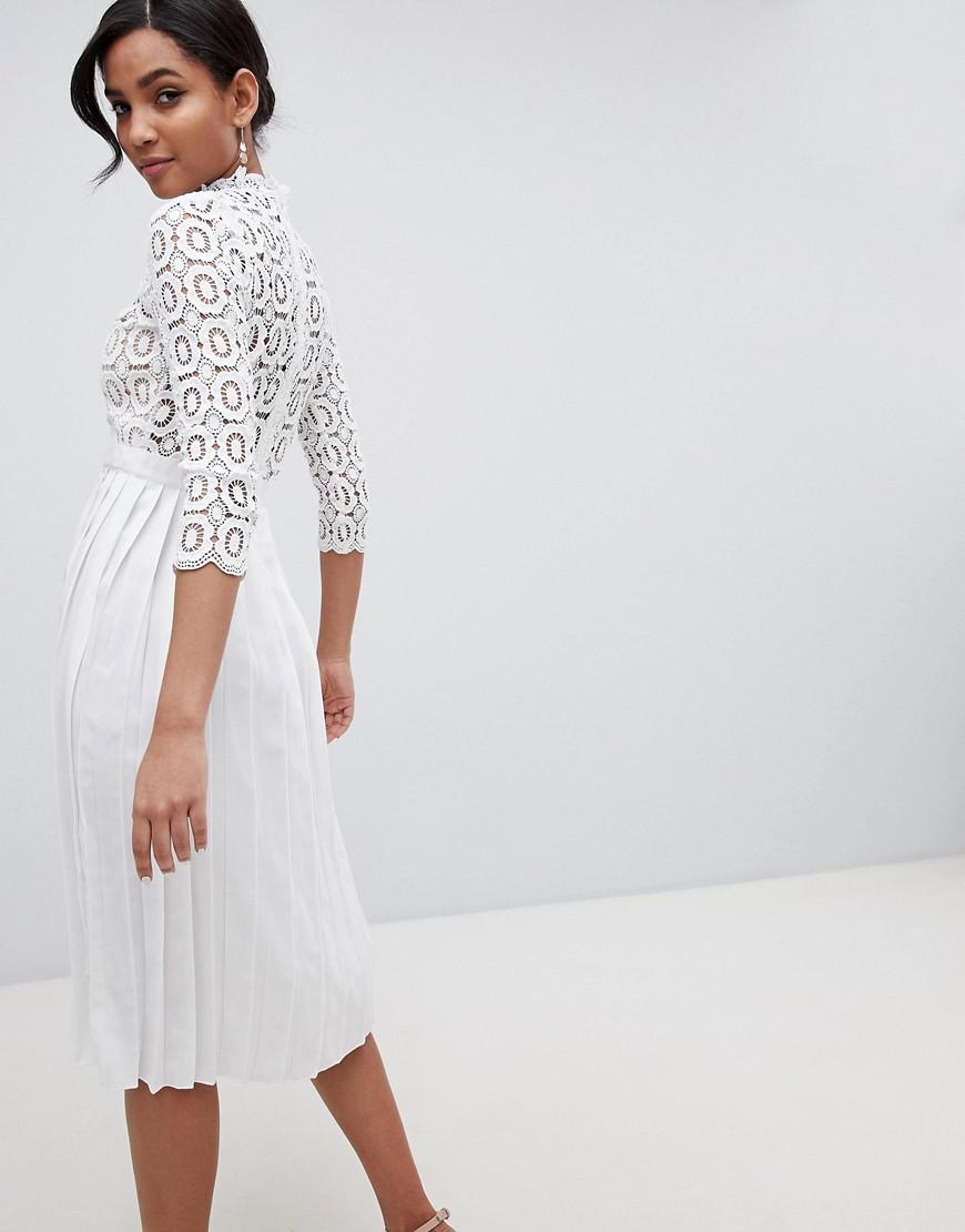 13e158bee Little Mistress 3/4 Sleeve Lace Top Pleated Midi Dress in White - Lyst
