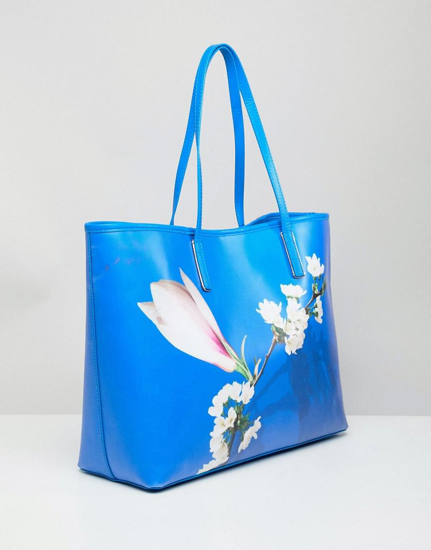 Ted Baker Coated Tote Bag In Harmony Floral in Blue