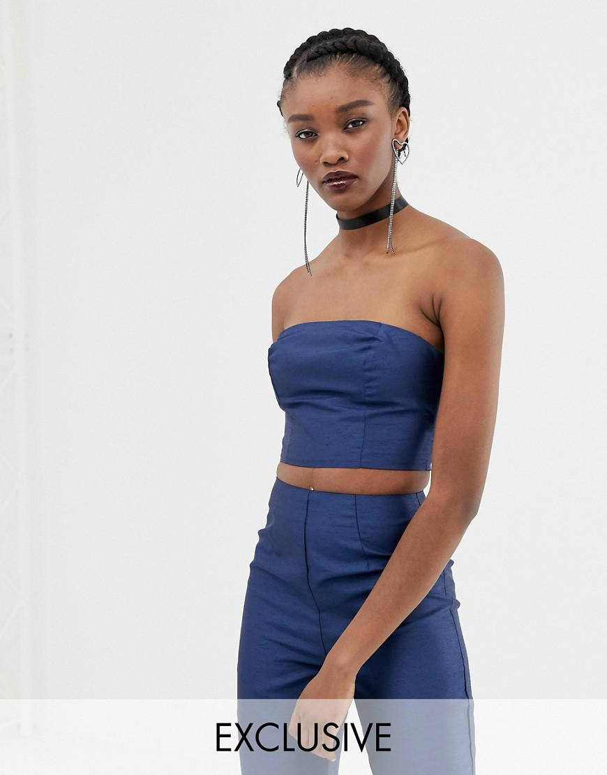 4d5355dfa6 Lyst - Reclaimed (Vintage) Inspired Co-ord Bralet In Satin in Blue