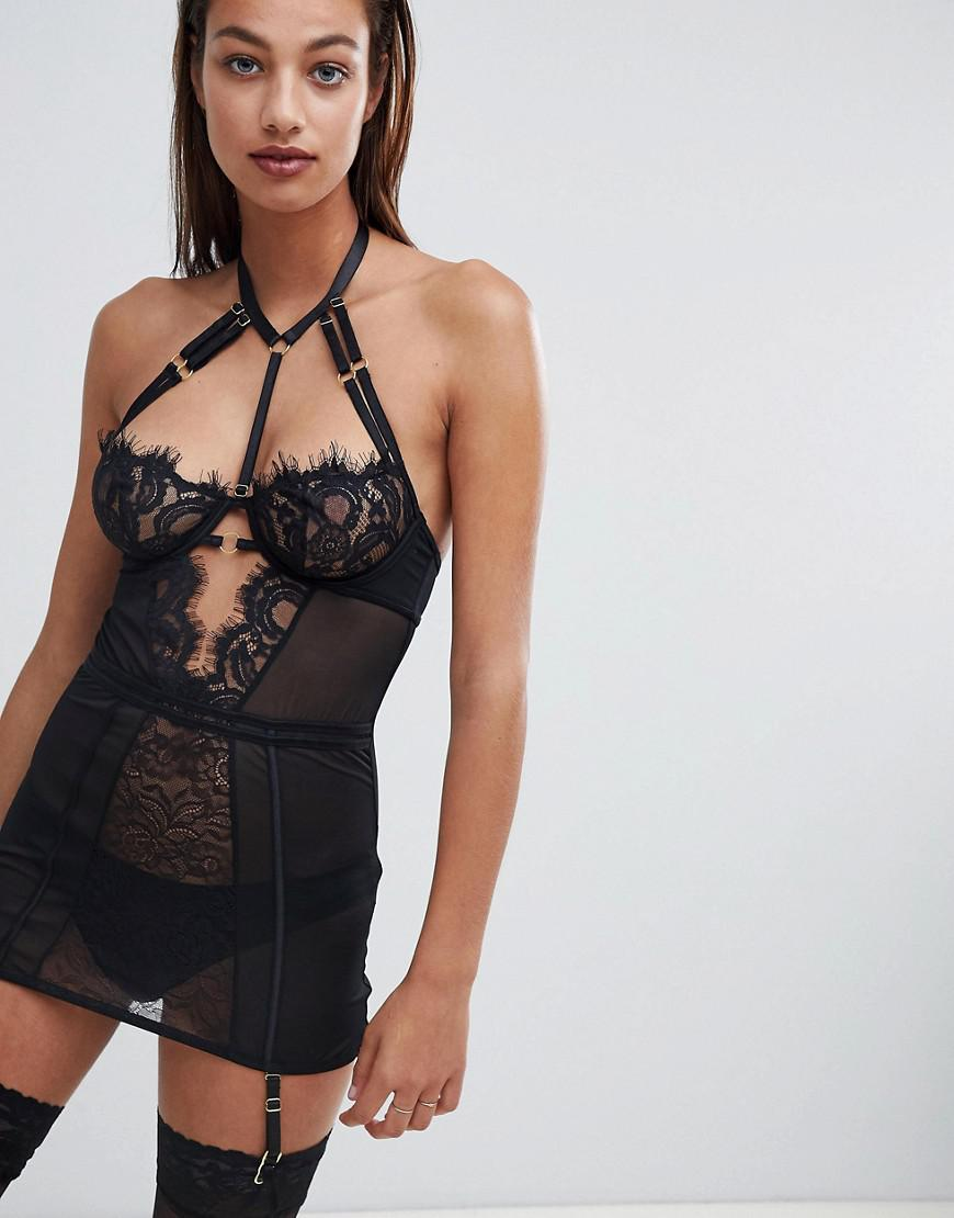 a4691ce049 Ann Summers Bonnie Lace Stap Detail Cami Suspender Dress in Black - Lyst