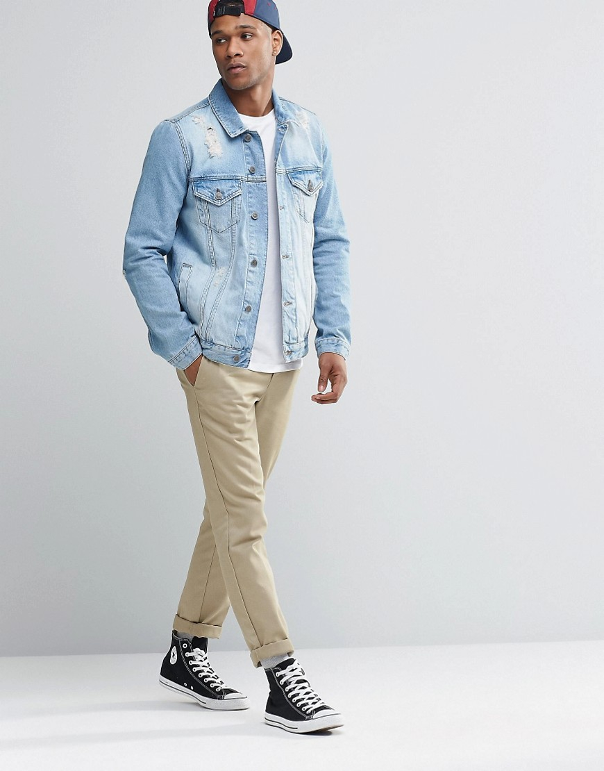 ASOS Denim Jacket In Mid Wash With Rips in Blue for Men