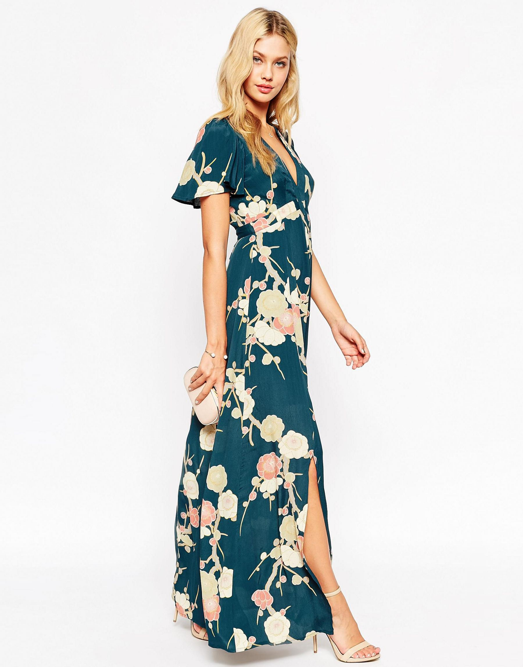 Lyst Asos Wedding Maxi Dress With Wrap Front In Floral Bloom